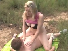 Couple copulates outdoors