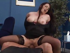 Saucy office playgirl acquires stuffed at work