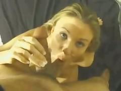 Golden-haired eats cum after BJ