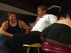 Horny black woman takes on two white dudes at the local bar