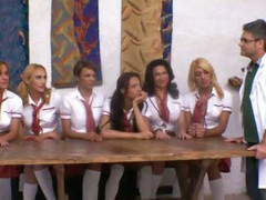Ultra-Hot Ladyboy Schoolgirls Group-Fuck Teacher!