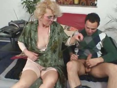 Granny gets him sexually excited with body