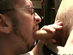 Man with beard engulfing massive rod