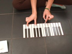 Cute teen plays piano and wet crack on the floor