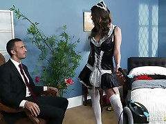 hot brunette wet pussy unfathomable screwed by her boss
