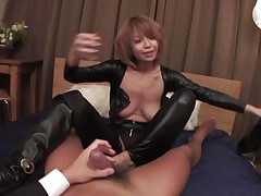 female-dominator japanese housewife straddles husband