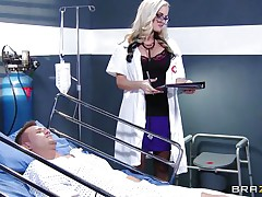 blond doctor waves her ass in patient's face