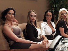 four women seducing their boss for greater quantity money