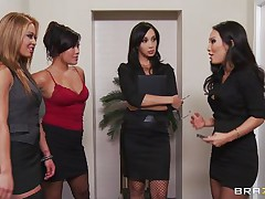 four hot women engulf their bosses shlong
