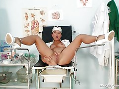 naughty horny nurse shows us her cookie