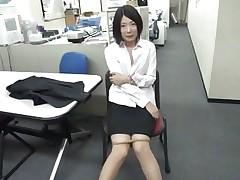 bored asian girl sucks a dildo at work