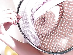 badminton girl discovers a self pleasure