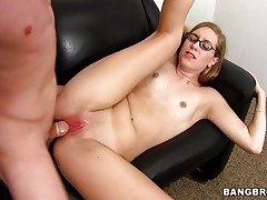 tiny-tit gal amber gets her young face cum covered!