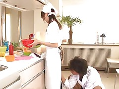 legal age teenager tries to cook whilst being pussy rubbed