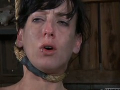 Gagged beauty's cunt is being drilled viciously by hard jock