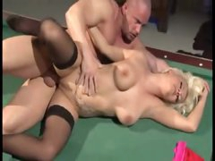 Males DP the tattooed blond on pool table