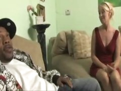 Blonde milf in a red suit wishes massive black shlong