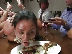 Abused Charley Chase eats like a dog