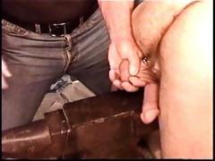 Sexy muscle guy Derek Da Silva gets balls bashed on steel anvil.
