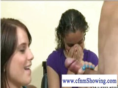 Slutty cfnm girls playing with pecker at the hair studio