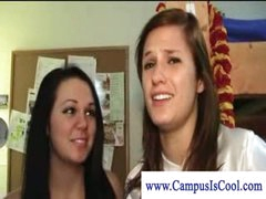 Lesbian college girls in in nature's garb dorm fun