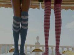 Skinny babes in socks enjoying free time