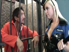 Busty blond babe penetrated in prison