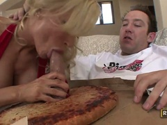 Diamond foxxx eats cock out of the pizza dough