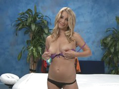 Blonde girl Casi takes off her white dress and positions in dark lingerie. Lastly she comes to a conclusion to show her sexy natural tits. She flashes her lovely wobblers with nice smile on her pretty face.